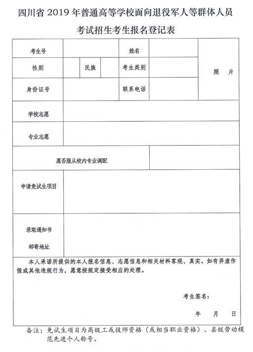 2019年四川省普通高等学校面向退役军人等群体人员考试招生考生登记表