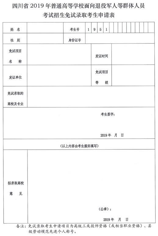 四川省2019年普通高等学校面向退役军人等群体人员考试招生免试录取考生申请表